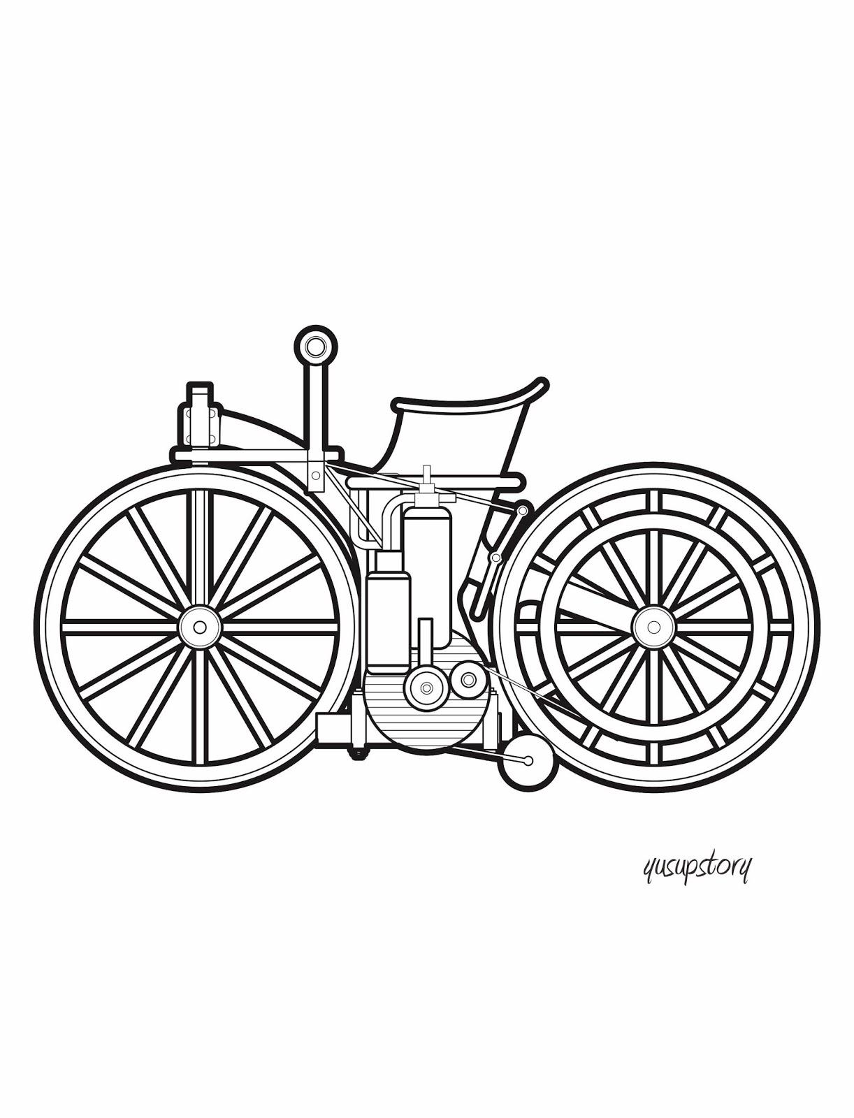 Mewarnai Coloring Daimler Reitwagen Sepeda Motor Pertama di Dunia
