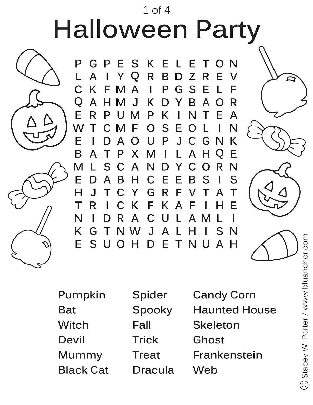 Blu Anchor Halloween Party Word Find