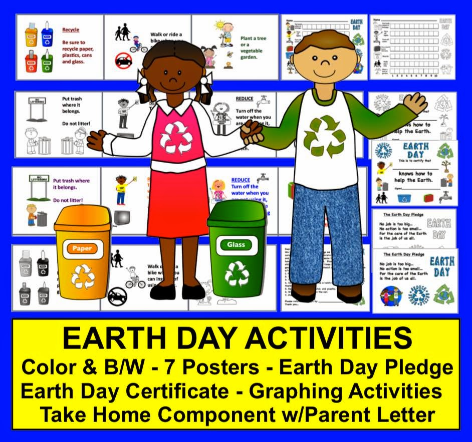 https://www.teacherspayteachers.com/Product/Earth-Day-Activities-7-Posters-Pledge-Graphing-Certificate-Parent-Letter-231767