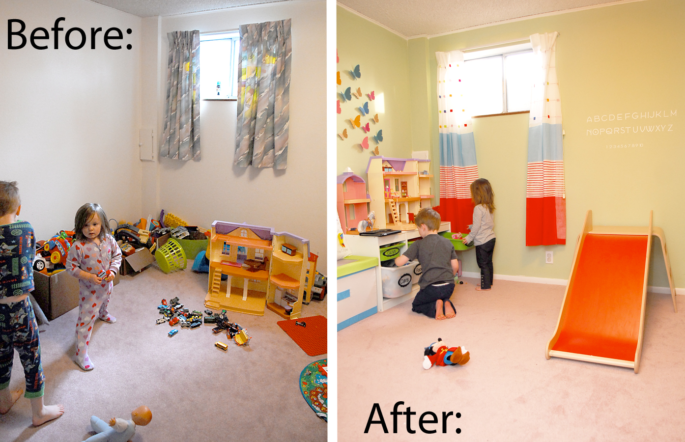 Playroom reveal before and after shwin and shwin for Kids play rooms