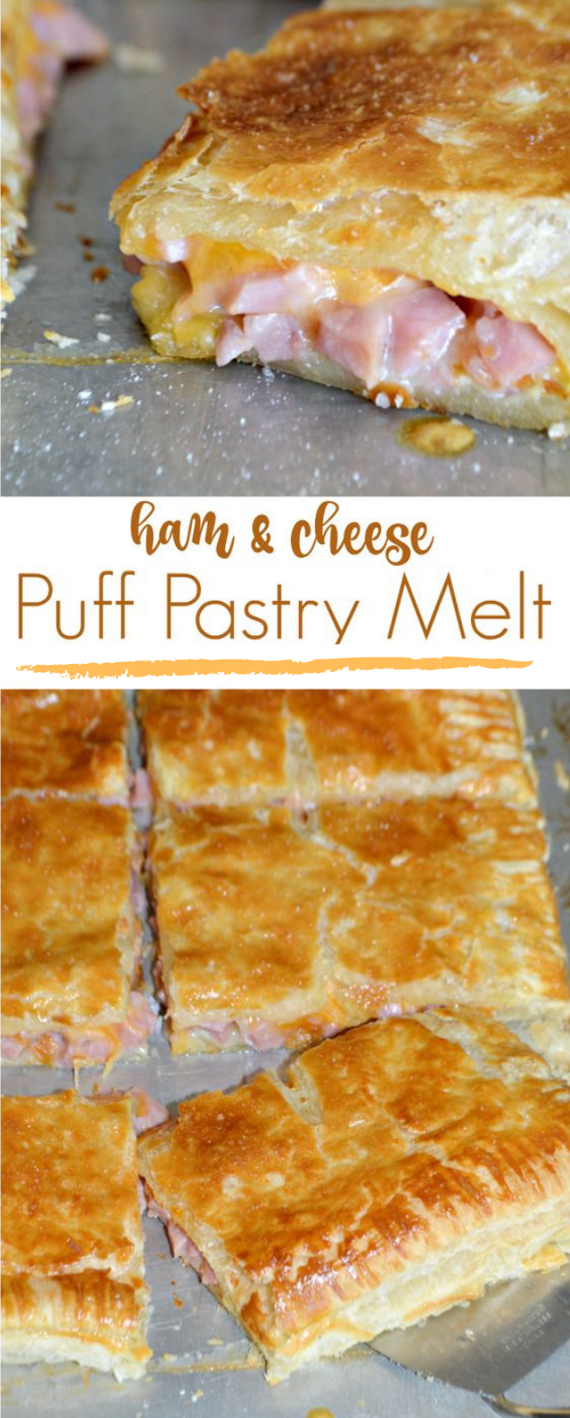 HAM AND CHEESE PUFF PASTRY MELT #dinner #cheese