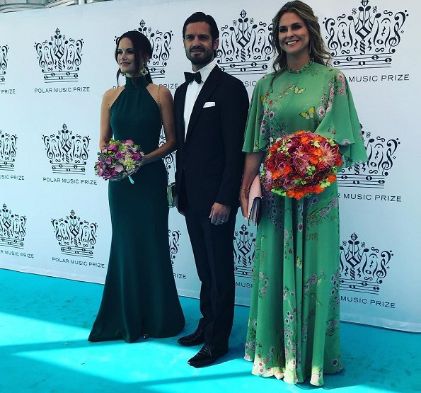 Princess Madeleine wore Giambattista Valli Green Garden Butterfly-print Tiered Silk-georgette Gown. Crown Princess Victoria, Princess Sofia