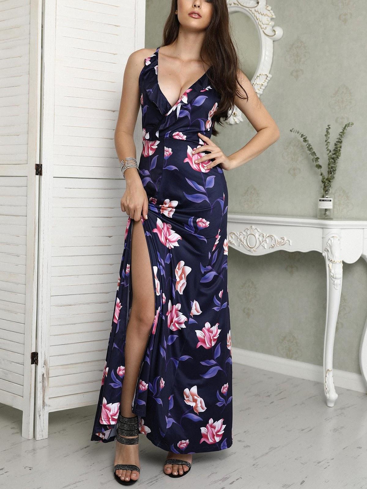 Floral Ruffle Deep V Caged Back Slit Maxi Dress
