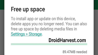 Free up Space to download on Play Store