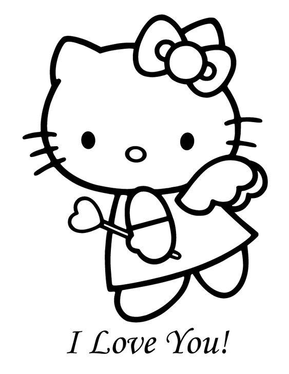 Tranh tô màu mèo hello kitty làm thiên thần