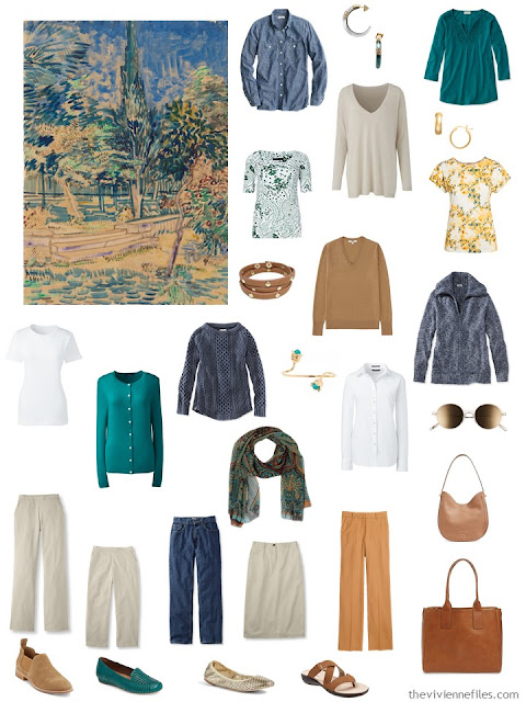 a 16 piece wardrobe in denim, khaki, caramel, and teal
