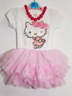 Dress tutu pink hello kitty untuk anak perempuan