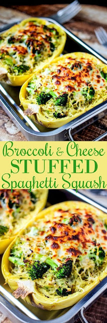 Broccoli & Cheese Stuffed Spaghetti Squash