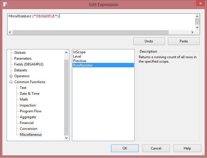 SSRS: Create Sequence Number Using RowNumber Function