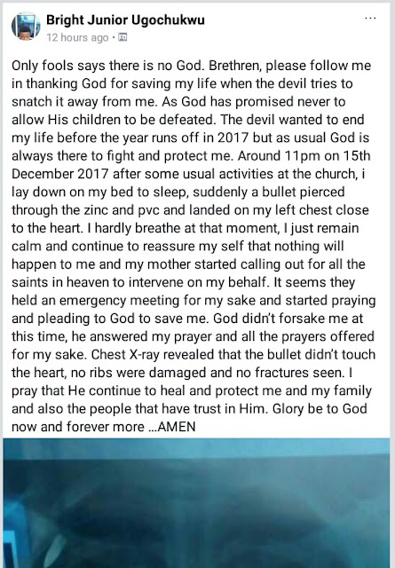 """Photos: """"Only fools says there is no God"""" - Bullet hits young Nigerian man sleeping inside his home, narrowly missing the heart"""