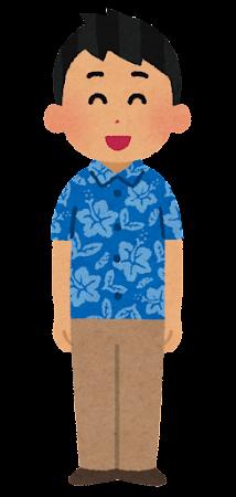 アロハシャツを着た人のイラスト(男性・日焼け)