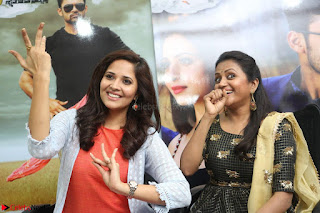 Actress Suma in Black Salwar Suit and Anusuya in orange Dress at winner movie press meet part 2 February 2017.jpg