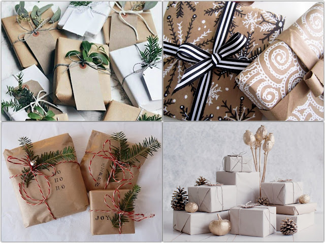 Sugestões para embrulhos de Natal