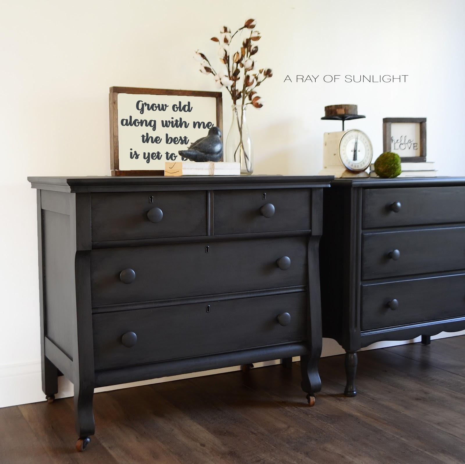 His and Hers Mismatched Nightstands in Deep Grey - A Ray ...