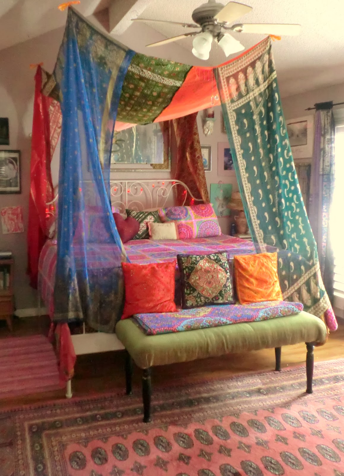 Just finished this bohemian gypsy bed canopy made from vintage saris. My  daughter Andrea designed it. I did the sewing.