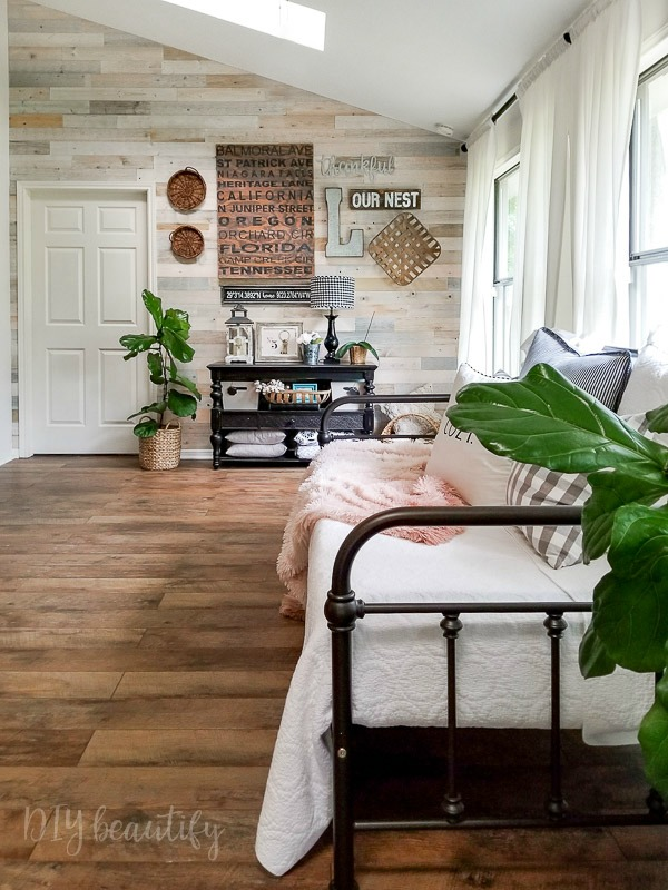 sun room with farmhouse floors