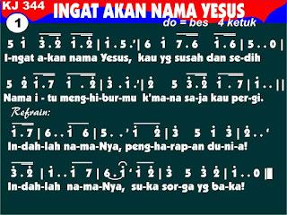 Lirik dan Not Kidung Jemaat 344 Ingat Akan Nama Yesus