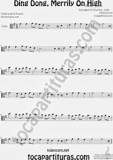 Partitura de Ding Dong, Merrily On High para Viola by Sheet Music for Viola Music Scores