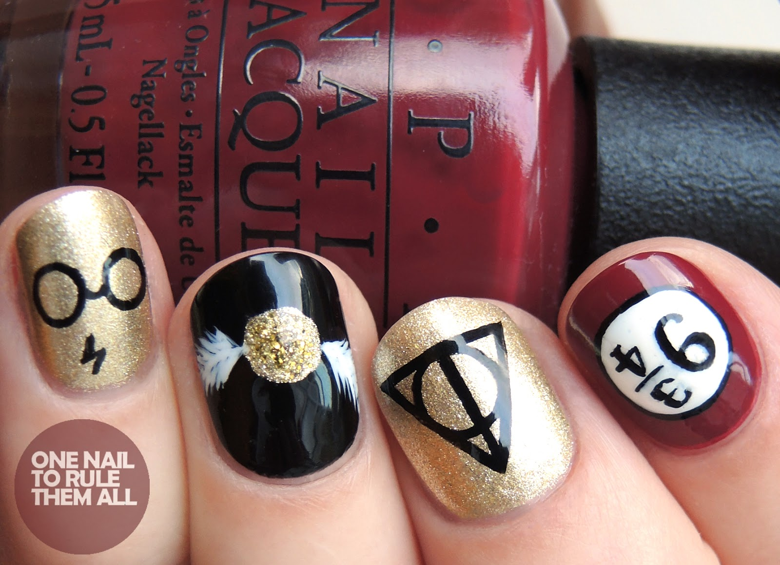 One Nail To Rule Them All Harry Potter Nail Art