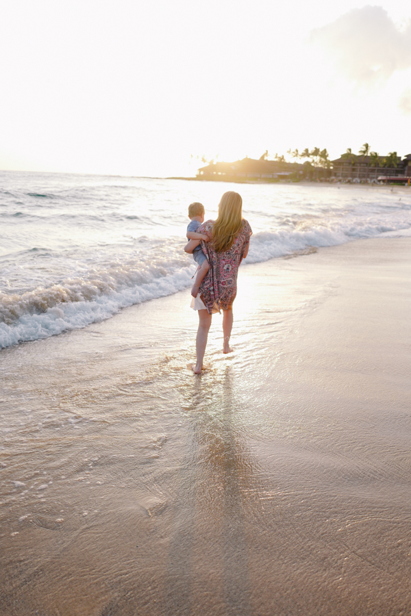 mother-son love captured at sunset at Poipu Beach, Kauai