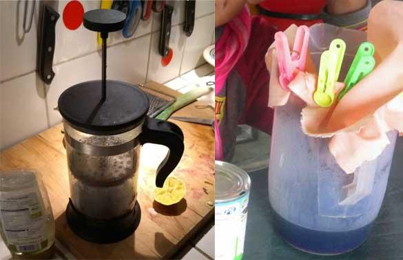 Hat jemand solch ein Teil bei sich zuhause rumliegen und braucht es nicht? Hier würde es seinen Zweck hervorragend erfüllen. Das diese Art Kaffee machen keinen Strom braucht finde ich super.  Foto links: so sieht das Teil aus, Foto rechts: So filtern wir im Moment unseren Kaffee.  POSTANSCHRIFT: P. Dietmar Krämer, Casilla 194, Tupiza, Bolivien