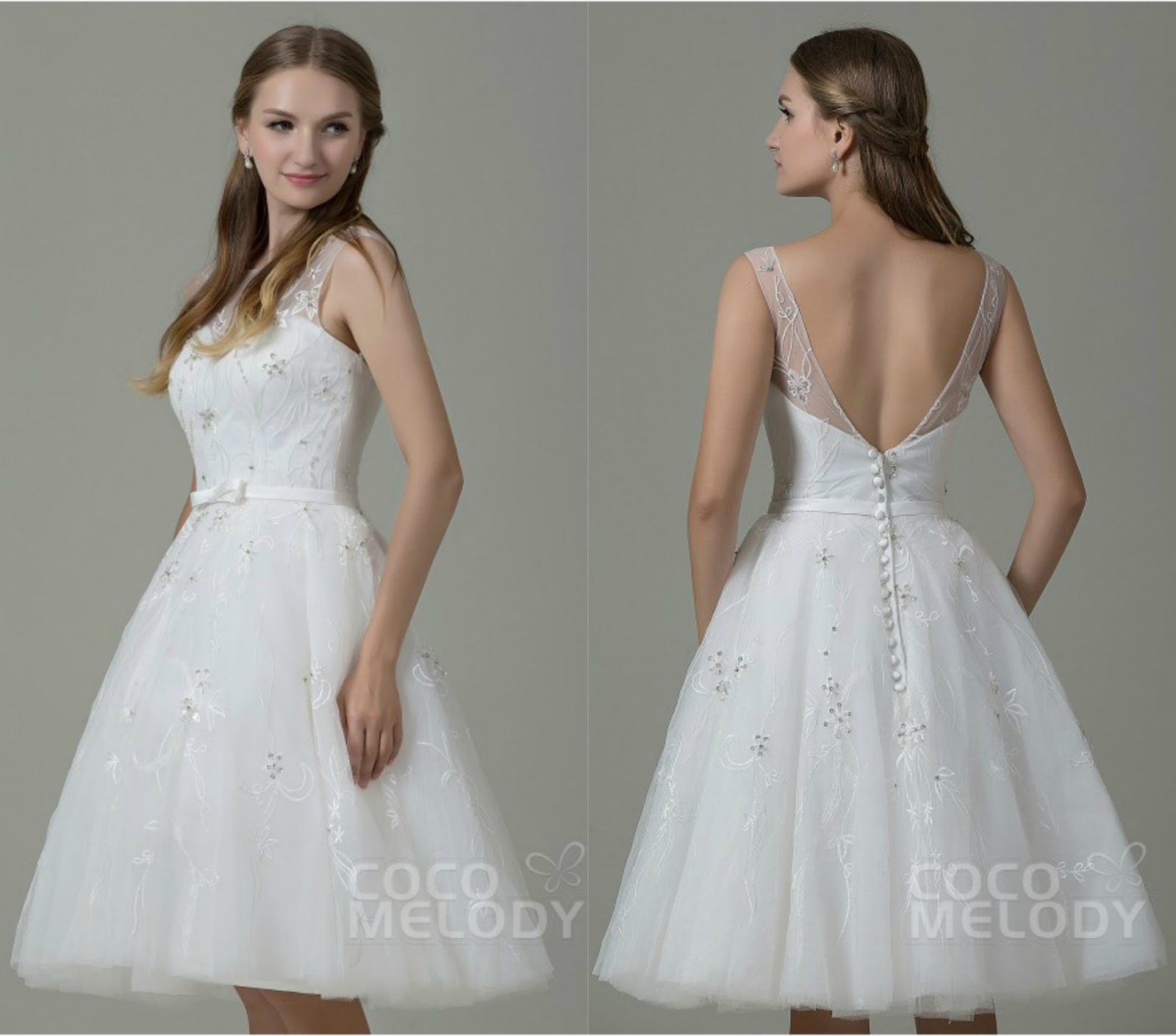 Fashion Illusion Natural Knee Length Tulle Ivory Sleeveless Open Back Wedding Dress with Beading and Embroidery