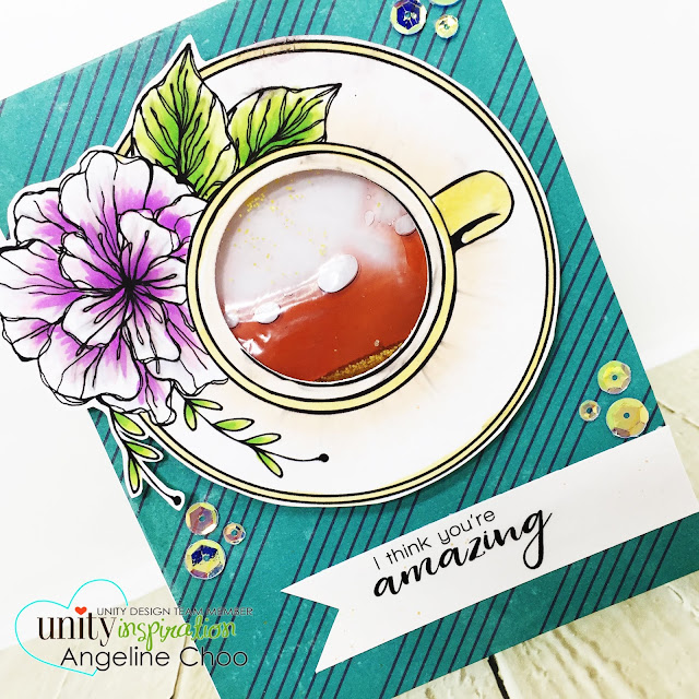 ScrappyScrappy: Unity Stamp & Graciellie Design Blog Hop - Tea Cup Floret #scrappyscrappy #unitystampco #gracielliedesign #card #cardmaking #youtube #quicktipvideo #video #coffeetea #copicmarkers #sequins #watershakercard #shakercard #papercraft #dylusions #timholtz #distressglitter #glitter
