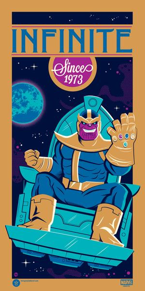 New York Comic Con 2018 Exclusive Thanos: Infinite Since 1973 Screen Print by Dave Perillo x Grey Matter Art x Marvel