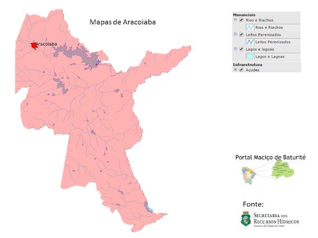 Mapas de Aracoiaba - Açudes - Rios e Riachos - Leitos Perenizados - Lagos e lagoas