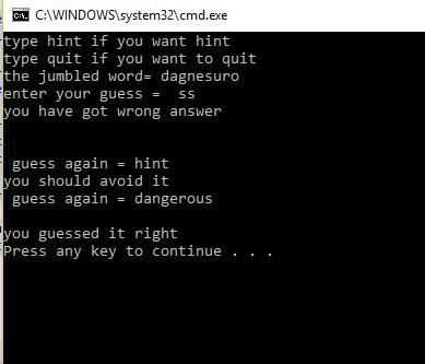 C Programming C Jumble Word Game