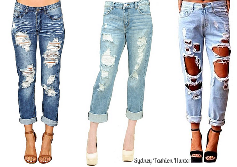Three Destroyed Women's Boyfriend Jeans