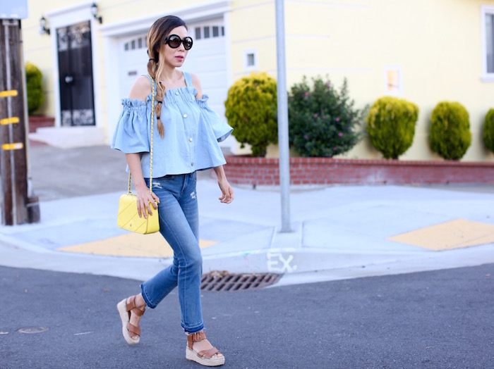 chic wish for the love of ruffle top, denim ruffle top, double denim top, cropped and flare jeans, blank denim jeans, tory burch cross body bag, sole society sandals, prada sunglasses, double denim look, summer style
