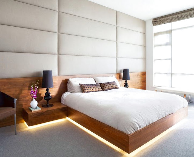 platform bed with floating nightstands plans