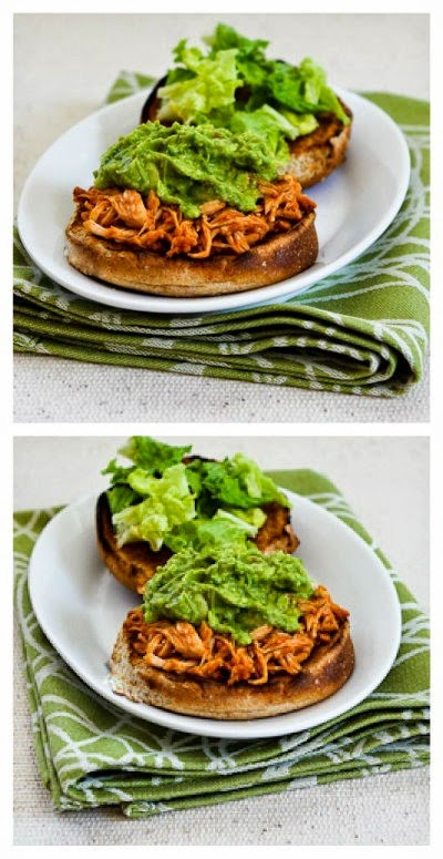 Slow Cooker Sriracha-Pineapple Barbecued Chicken Sandwiches with Easy Guacamole from Kalyn's Kitchen found on SlowCookerFromScratch.com