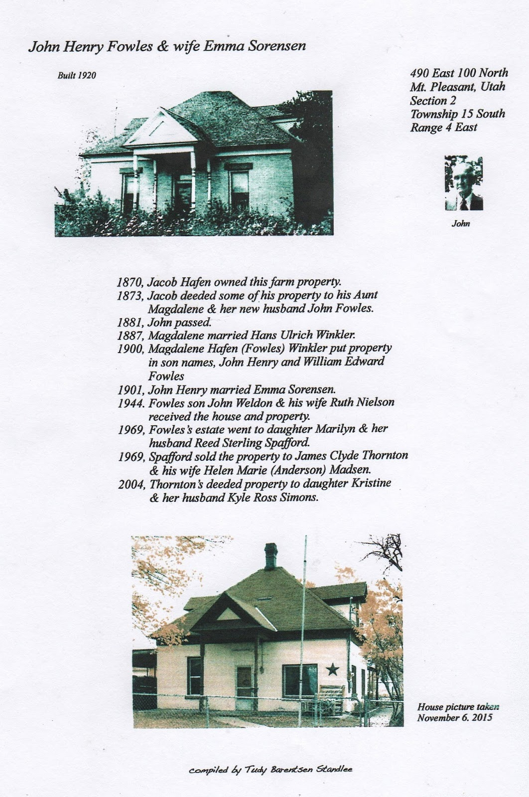 Mt Pleasant Pioneer 3 1 17 4 Circuit Board Elite Miracle1 Gates Home Of John Henry Fowles And Wife Emma Sorensen Researched Compiled By Tudy Barentsen Standlee