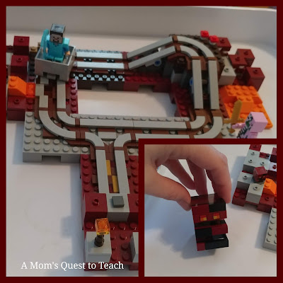 Minecraft Railway Nether Lego Build and Magma Cube