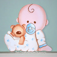 silueta de madera infantil bebé con osito en pijama babydelicatessen