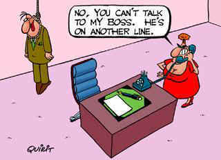 Funny Boss Joke Cartoon Image- He's on another line.