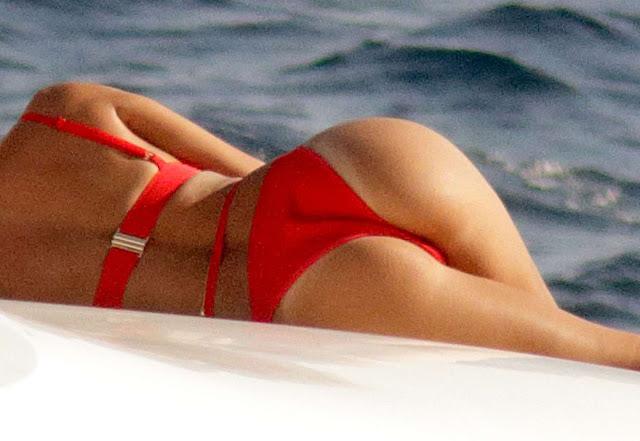 Nicole Scherzinger in Red Bikini on yacht in Mykonos