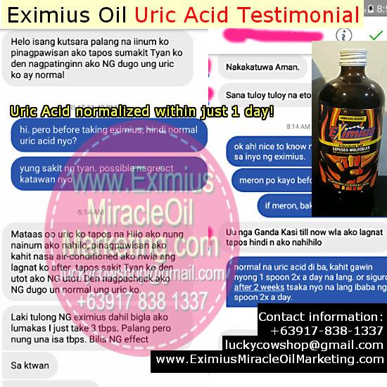 eximius oil uric acid testimonial
