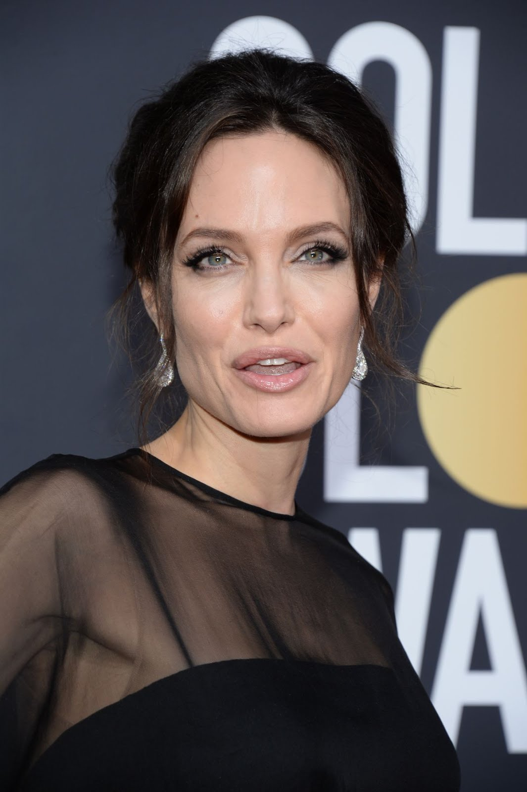 angelina jolie at 75th annual golden globe awards in beverly hills