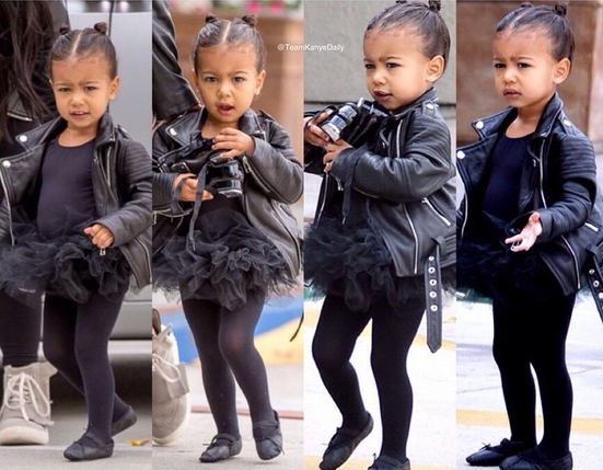Cute North steps out with Kim as she goes Ballet