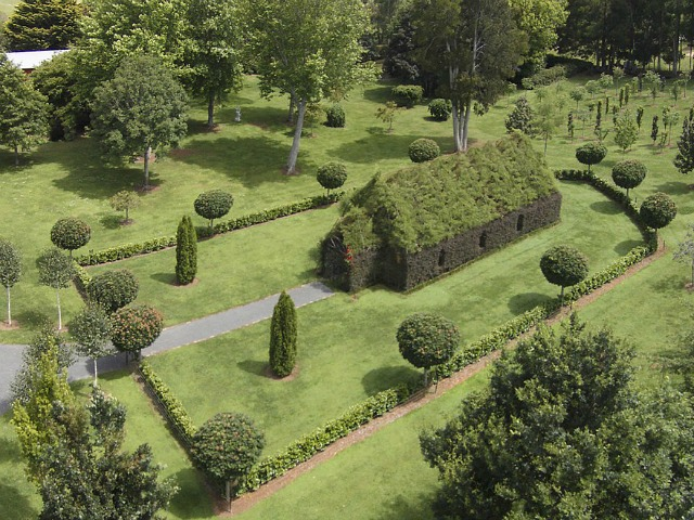 Iglesia única hecha con árboles