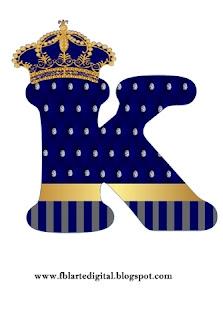 Abecedario con Corona Dorada en Azul. Alphabet with Golden Crown in Blue.