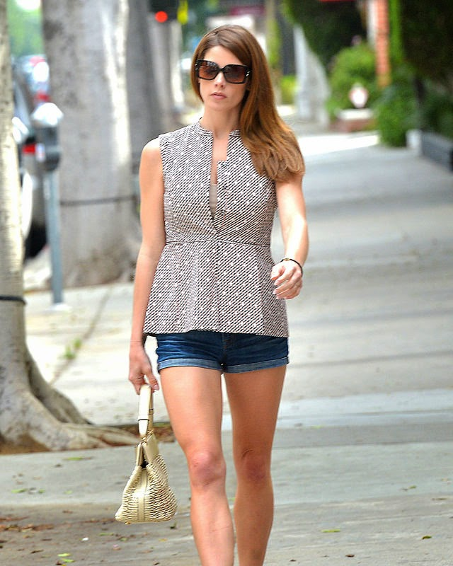 Ashley Greene shows off hot legs in denim shorts