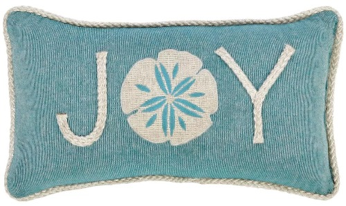 Beach Blue Christmas Pillow with Word Joy