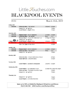 B2B Blackpool Hotelier Free Resource - Blackpool Shows and Events March 15 to March 21 - PDF What's On Guide Listings Print-off #151 Thursday March 14