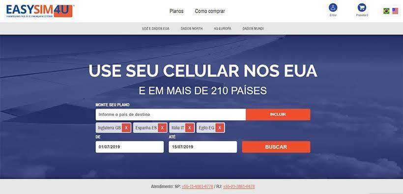 Internet no exterior: EasySim4U