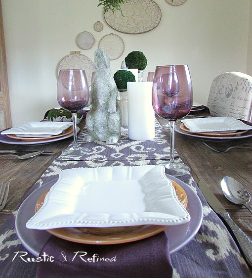 Home decor for Easter at the dining table