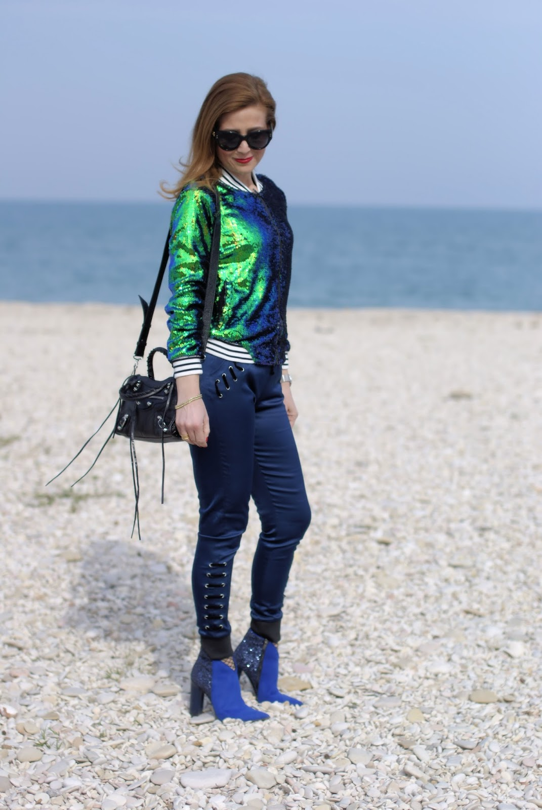 Sequins bomber jacket from Zaful and Gucci sunglasses on Fashion and Cookies fashion blog, fashion blogger style